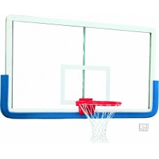 "42"" x 72"" Outer Limit Pro Glass Backboard with Aluminum Frame, Four Corner Mount with Center Strut"
